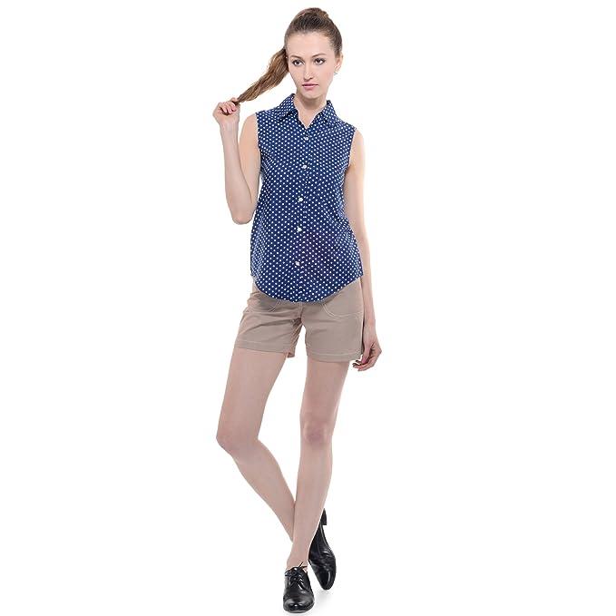 81afbdf5b3bda2 A Luv Ya Women s Poly Crepe Printed Polka dot Camp Shirt  Amazon.in ...