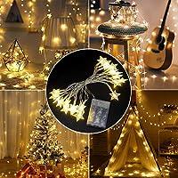 LETTURE Guirnaldas Luces de La Estrella Cuerda, 3 Metros Tira Led Decorativa Navidad de Estrellas Luz, 20 Leds Estrellas…