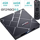 pendoo Android 9.0 TV Box 4GB RAM 64GB ROM, X10 MAX Android TV Box RK3318 Quad-Core 64Bits Dual WiFi 2.4G/5G Bluetooth 3D 4K Ultra HD H.265 USB 3.0 Android Box…