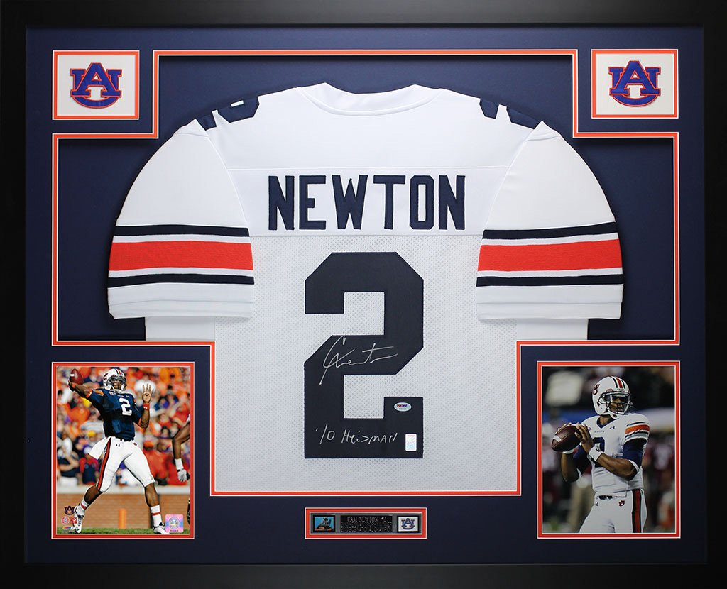 Cam Newton Autographed White Auburn Jersey - Beautifully Matted and Framed  - Hand Signed By Cam Newton and Certified Authentic by Auto PSA COA -  Includes ... 98ff4e761