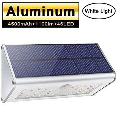 Solar Motion Sensor Lights Outdoor 46 LEDs 1100lm 4500mAh Aluminum Alloy IP65 Waterproof Led Security Outdoor Lights for House Garden, Driveway, Yard, Deck, Fence Post-White