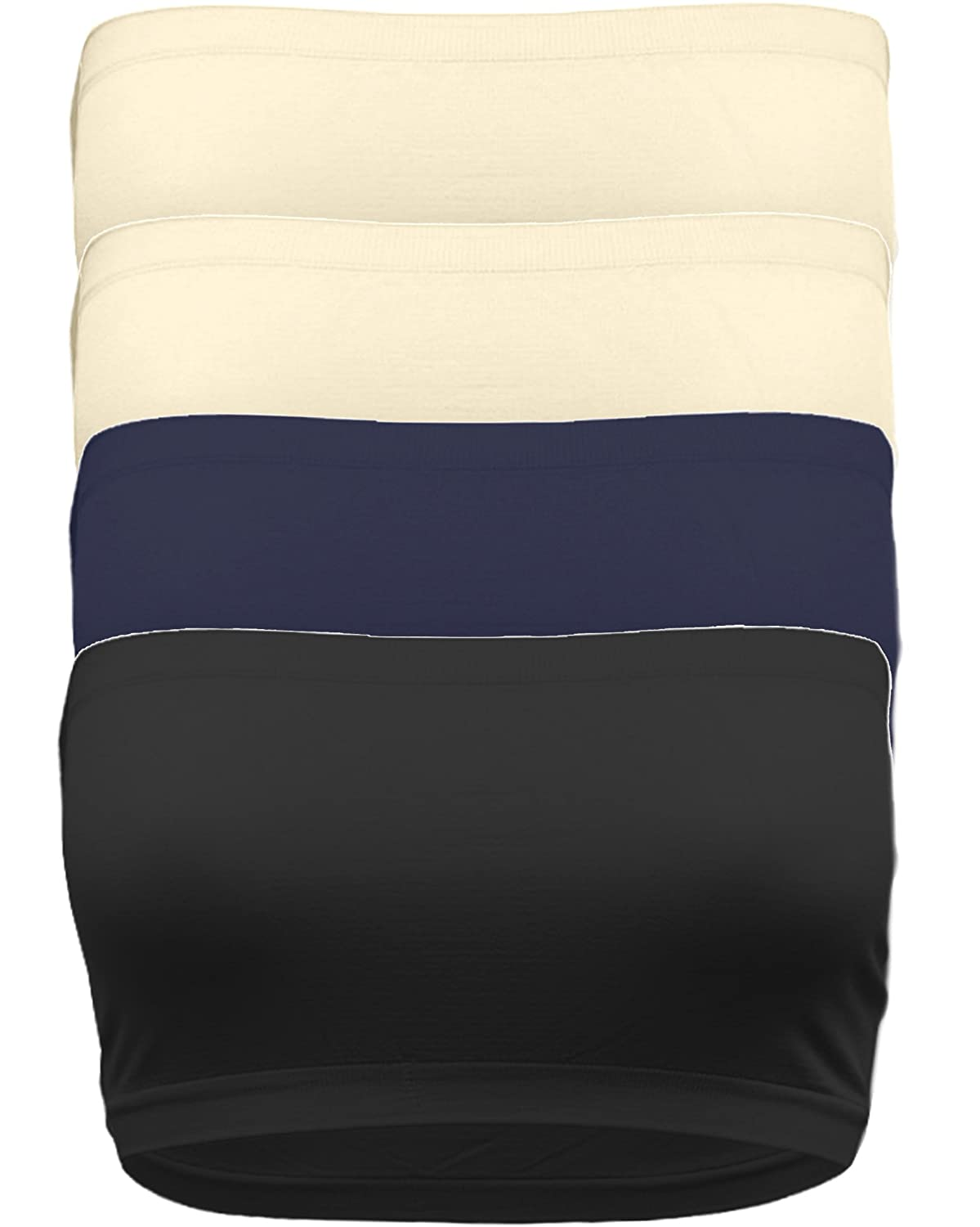 Strapless Bandeau Bra Seamless Stretchy Crop Tube Top Pack Sets of 4 or Single