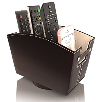 Review Remote Control Holder Caddy Bedside Organizer | Nightstand Storage Desk Accessories | Rotating Base Faux Leather Multiple Compartments by Kyle Matthews Designs