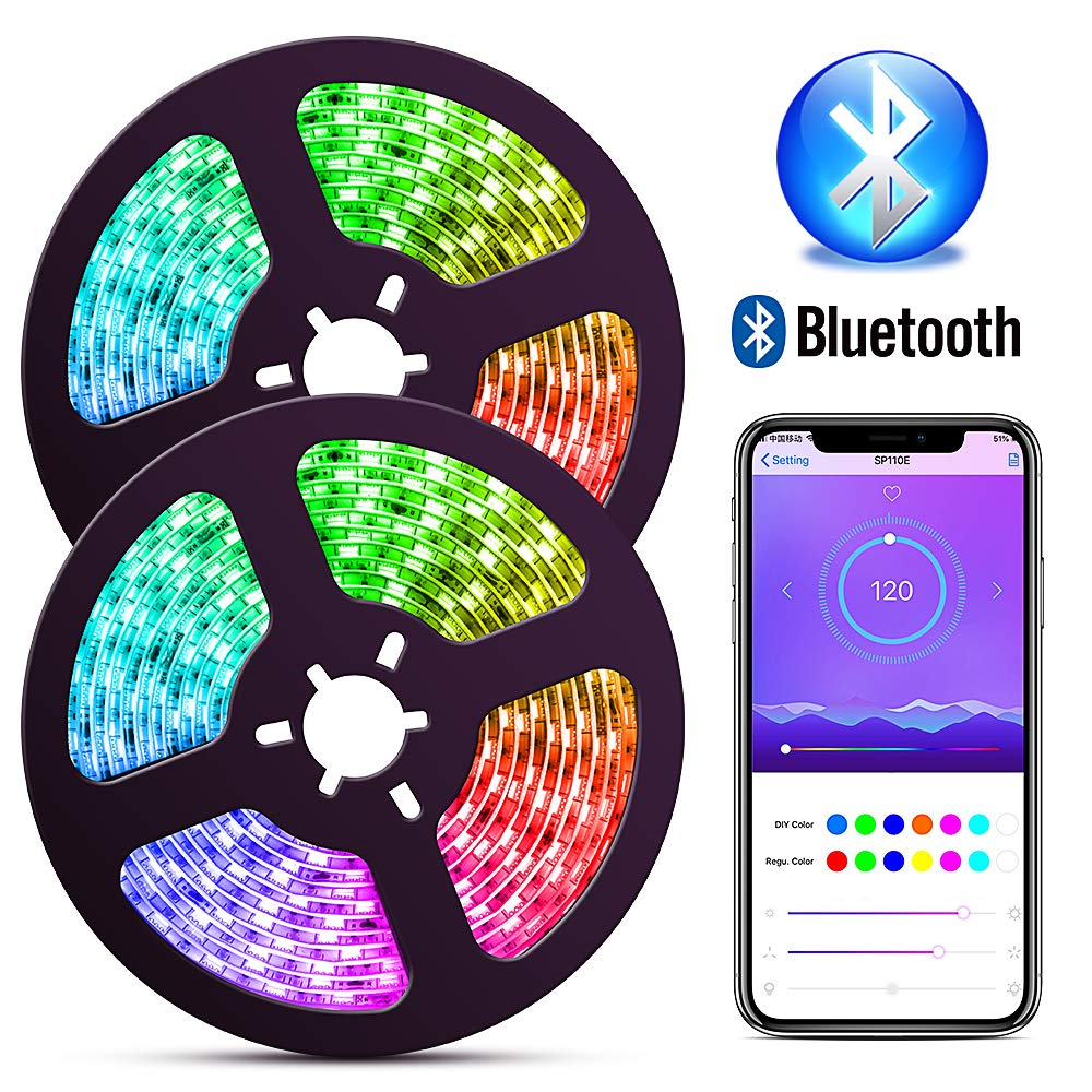 ELlight Bluetooth Dream Color LED Strip Lights with APP, 10m/32.8ft Music Lights with Multicolor Chasing, Waterproof RGB Rope Lights Kit, 300 LEDs SMD 5050 Flexible Strip Lighting for Home Kitchen