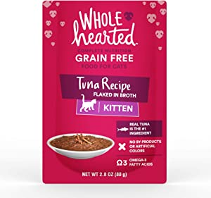 WholeHearted Grain Free Tuna Recipe Flaked in Broth Wet Kitten Food, 2.8 oz., Case of 12, 12 X 2.8 OZ