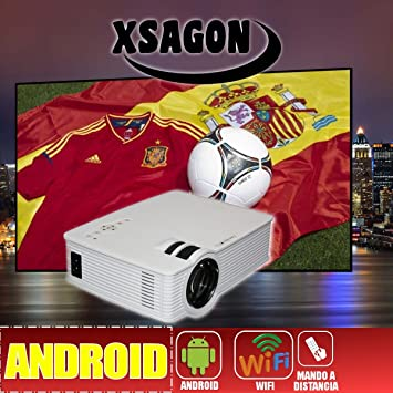 proyector HD con Android, DLP, WiFi, HDMI, VGA, Ethernet, USB,SD ...