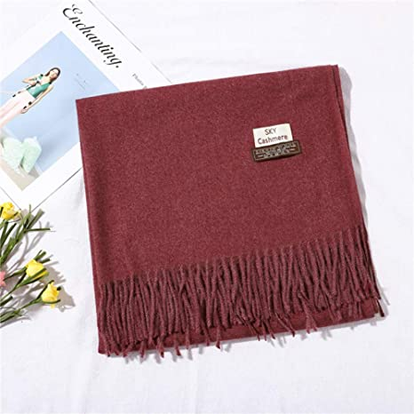 LZDLL Solid Color Winter Scarf Female Thick Warm Shawl Fashion ...