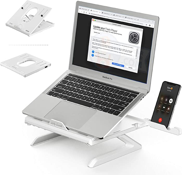 Laptop Stand Ergonomic, Jelly Comb Multi-Angle Adjustable Laptop Riser with Built-in Foldable Legs and Phone Holder, Ventilated Notebook Stand Tray for MacBook, Desktop Computer, Tablet (White)