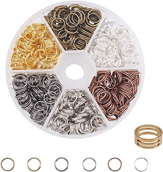PandaHall Elite About 1700 Pcs Iron Split Rings Double Loop Jump Ring Diameter 4mm Wire 21-Gauge 6 Colors for Jewelry Findings