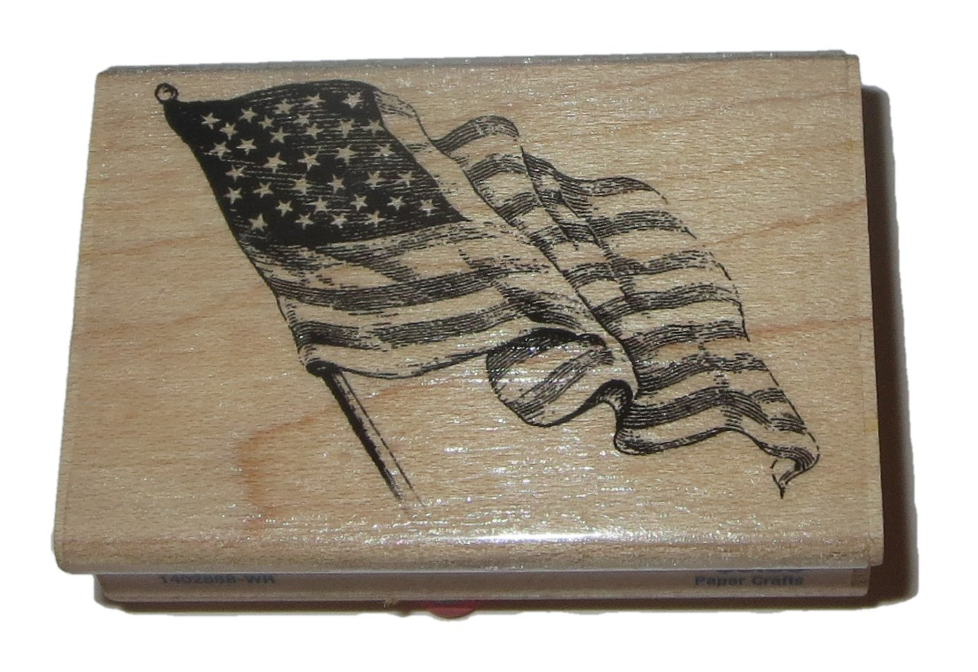 Wavy US Flag Rubber Stamp Wood Mounted 1 1/2 Inches High x 2 3/8 Inches Long Stampabilities