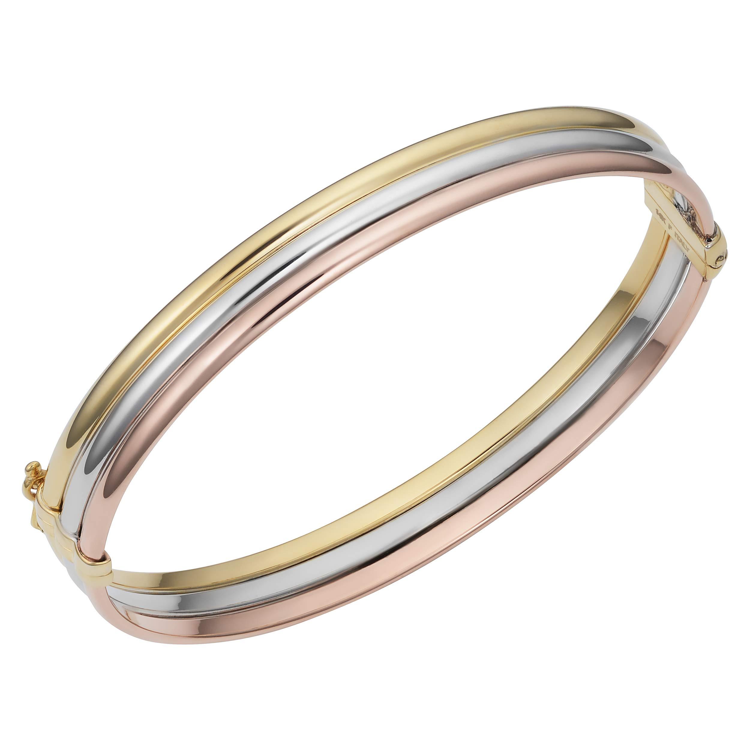 14k Gold Tricolor Triple Bangle Bracelet (7.5 inch)
