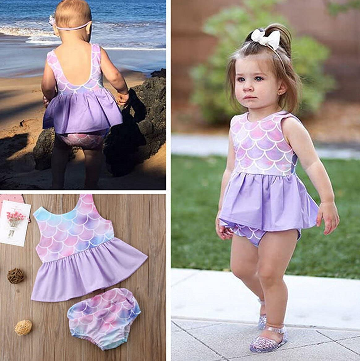 Newborn Baby Girl Clothes Mermaid Fish Scale Tutu Ruffle Dress with Shorts Pants Toddler Infant Little Kid Girls Outfits Sets