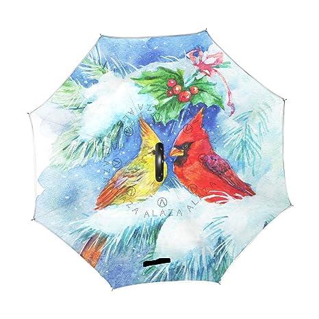 a504f56ba4330 Amazon.com: Wamika Retro Cardinal Bird Mistletoe Reverse Umbrella ...