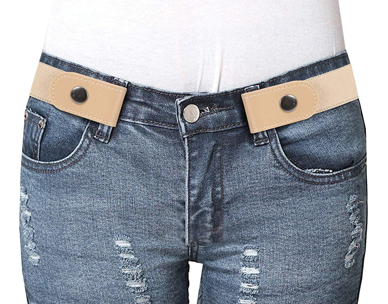 Beige Bucklefree Elastic Women Belt for Jeans without Buckle, SANSTHS Comfortable Invisible Belt No Bulge No Hassle