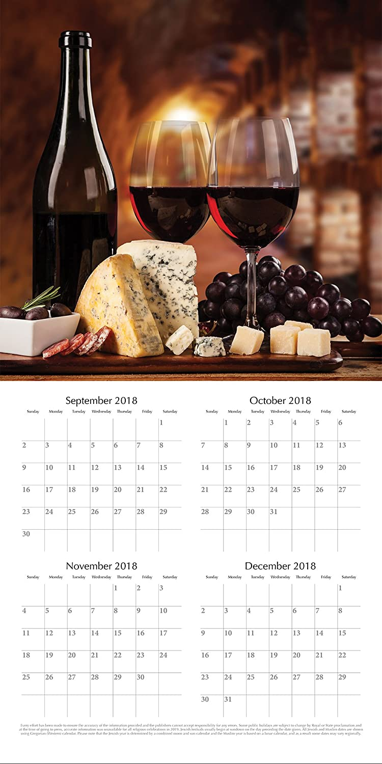 Amazon.com : 2019 Wall Calendar - Wine Calendar, 12 x 12 Inch Monthly View,  16-Month, Drinks and Beverages Theme, Includes 180 Reminder Stickers :  Office ...