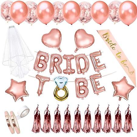 "Team Bride 12/"" Rose Gold Confetti Balloons Hen Bachelorette Party Decoration x 5"