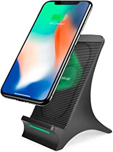 Olixar Wireless Charger Stand with Cooling Fan Built-in - 10W Fast-Charging - Prevents Overheating & Extends Battery Life - Qi Certified for iPhone, Samsung and More - Universal Compatibility - Black
