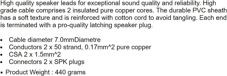 008193 5m HQ 1.5mm2 PA Speaker System Lead SPK Speakon-Compatible Cable