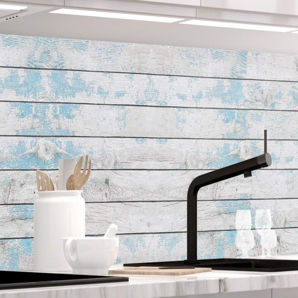 alle Untergr/ünde StickerProfis K/üchenr/ückwand selbstklebend Premium BLAUES Design Holz 1.5mm Hartschicht Versteift 60 x 60cm