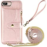 iPhone 7 Plus Wallet Case, LAMEEKU Compatible Wallet Case for iPhone 8 Plus 7 Plus, Card Holder Leather Case with Wrist Chain Crossbody Strap Zipper Case for iPhone 7 Plus/8 Plus-5.5''(Rose Gold)