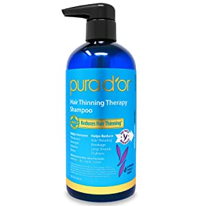 PURA D'OR Hair Thinning Therapy Biotin Shampoo VANILLA LAVENDER Scent (16 oz) w/Argan Oil, Herbal DHT Blockers, Zero Sulfates, Natural Ingredients For Men & Women, All Hair Types (Packaging may vary)