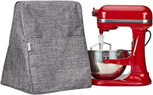 NICOGENA Stand Mixer Dust Cover Compatible with Kitchenaid Bowl Lift 5-8 Quart - These Storage Covers Have 4 Accessory Pockets for Beater, Whip and Other Attachments (Grey)