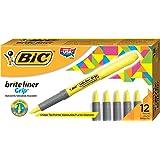 BIC Briteliner Grip Boite de 12 Surligneurs Jaune