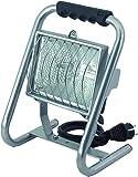 Brennenstuhl Halogenstrahler/Flutlicht Halogen ideal als mobiler Baustrahler (Außenstrahler IP54 geprüft, 5m Kabellänge, 400 Watt) Farbe: silber