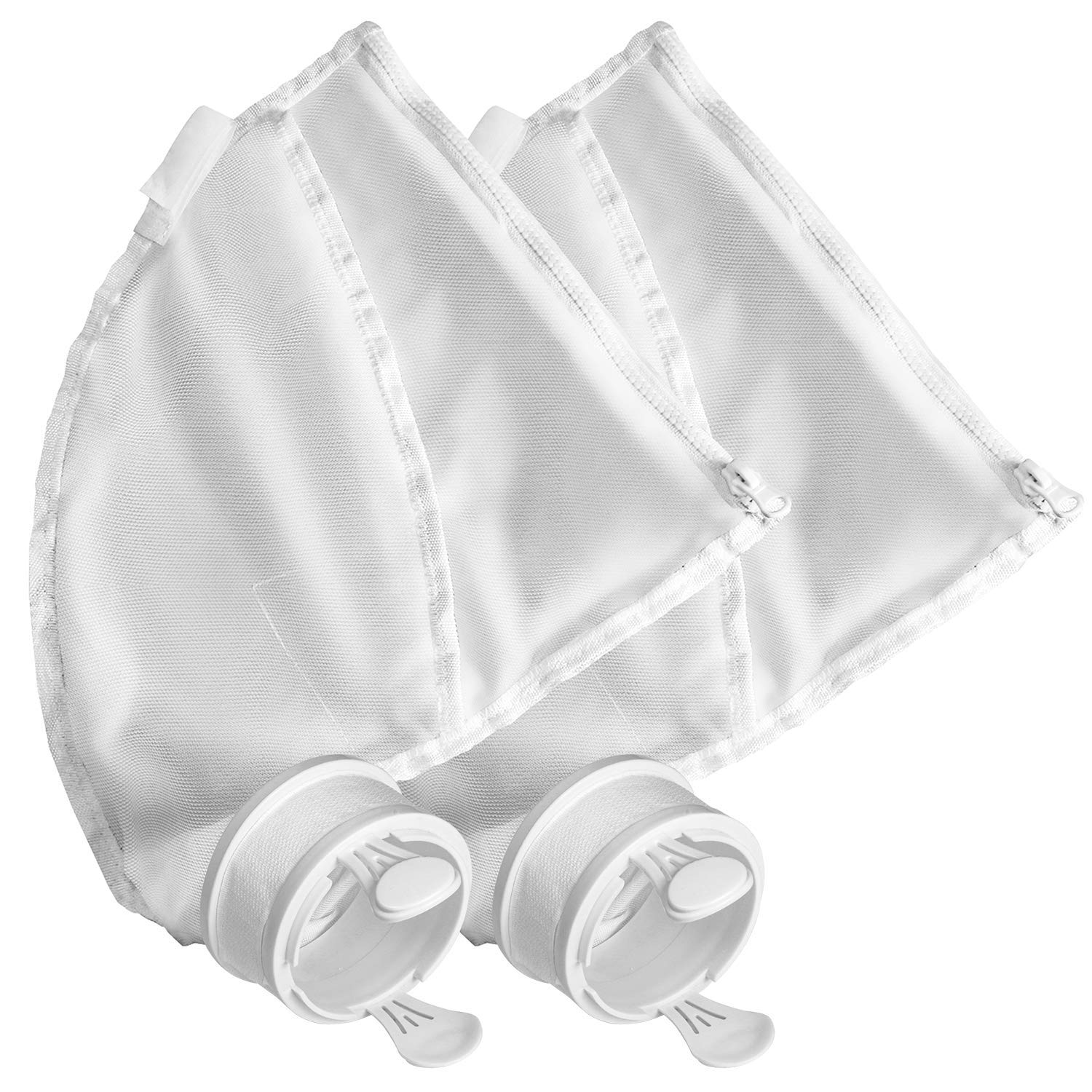 SuMile 2 Pack All Purpose Bags for Polaris 280, 480 Pool Cleaner Replacement Bags Filters Nylon Mesh Zipper Bags K13 K16 Vac-Sweep Replacement Parts, White