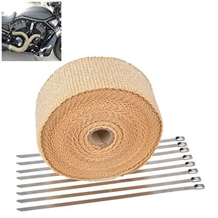 Blue KaTur 2 x50Ft Exhaust Heat Wrap Tap Header Glassfiber Wrap Kit with 8pcs 11.8 Inch Stainless Locking Ties