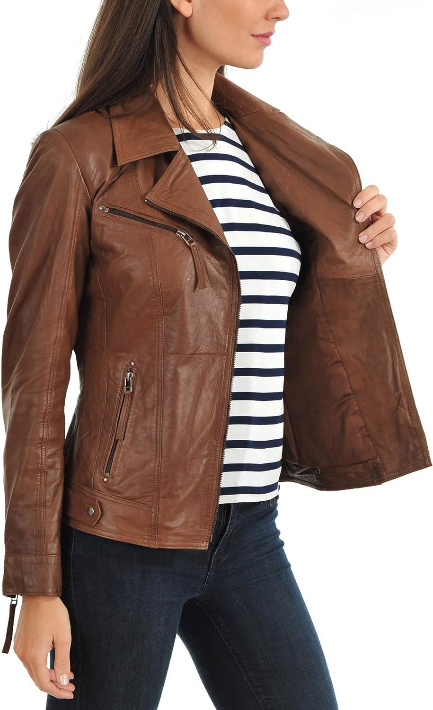 Koza Leathers Womens Lambskin Leather Biker Jacket KN346