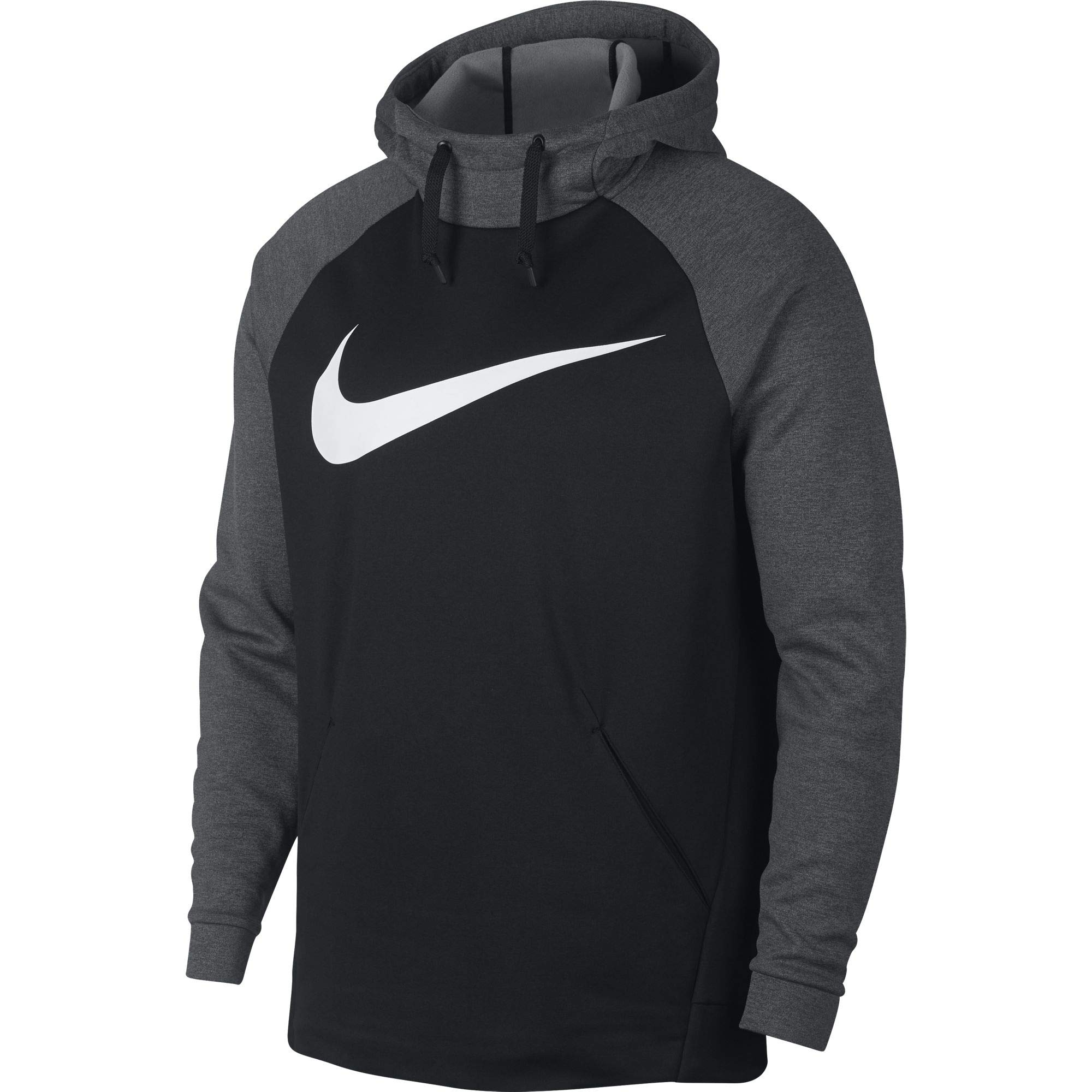 Nike Men's Therma Swoosh Training Hoodie Black/Charcoal Heather/White Size Small