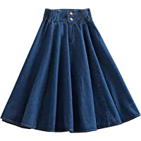 Women's Elastic Waist Vintage A-Line Skater Denim Midi Skirt Pleated Jean Skirts