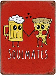 Beer And Pizza Soulmates Tin Sign Vintage Iron Painting Personality Novelty Metal Plate Vintage Wall Decor for Cafe 15.7