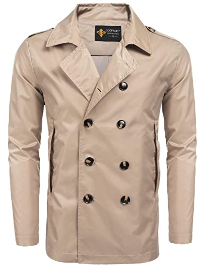 068bd8adf977 Coofandy Men's Double Breasted Buttons Jacket Overcoat Long Trench Coat  Outerwear Khaki