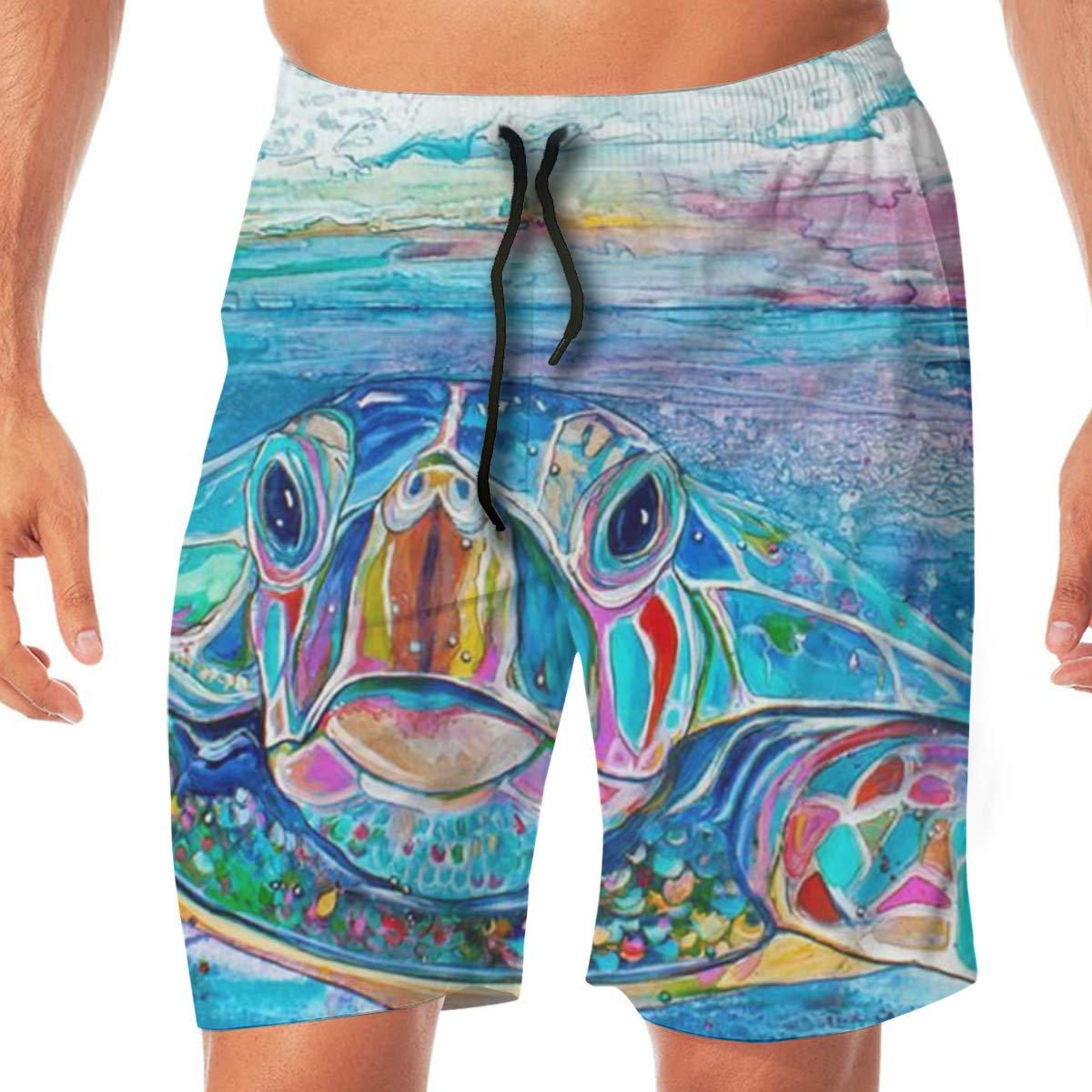 COLSHOORTS Sea Rubber Duck Men Hawaiian Boardshorts Quick Dry Swimming 3D Printed Elastic Beach Trunks Aloha Short with Pocket