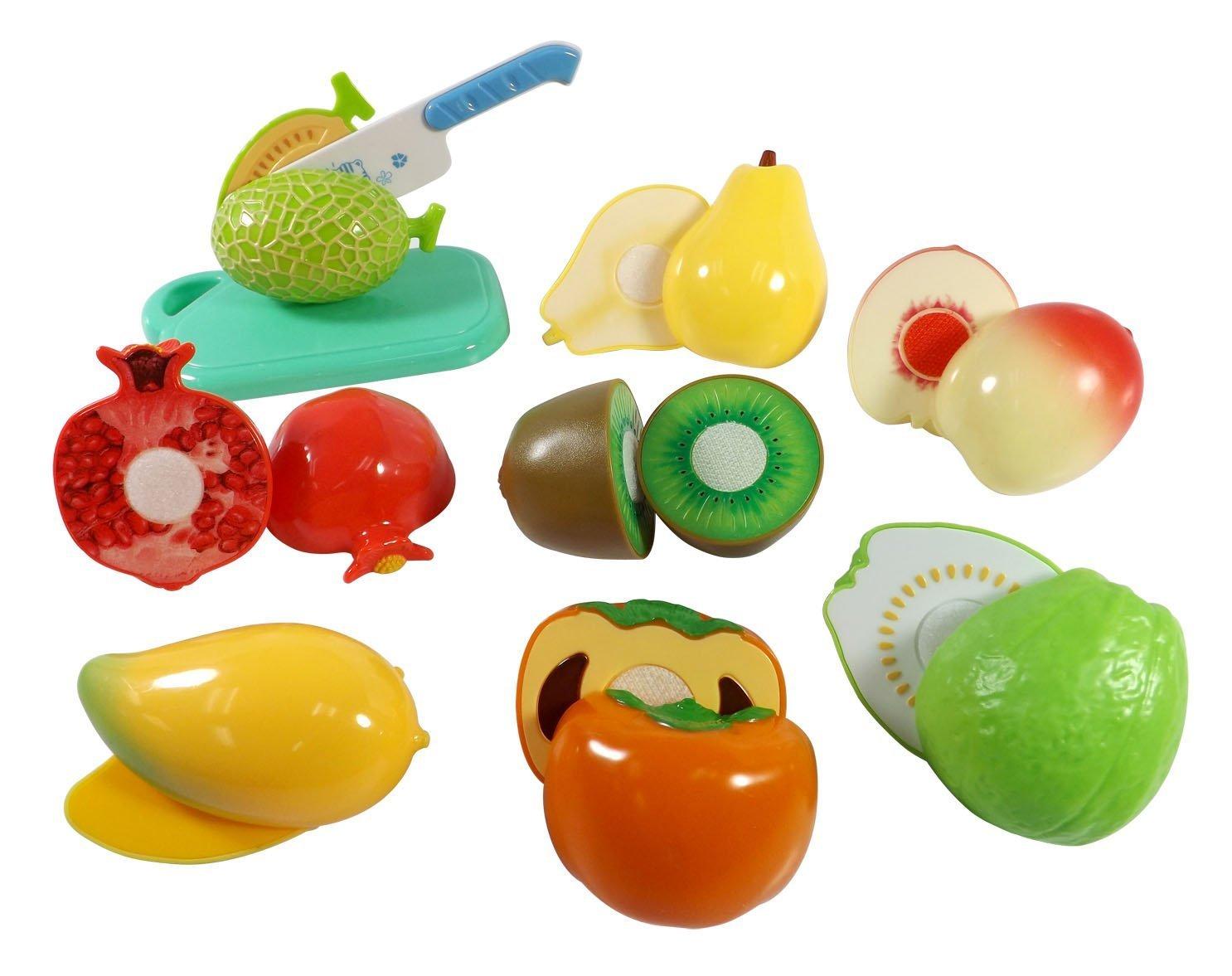 buy toyshine realistic sliceable 15 pcs fruits cutting play toy
