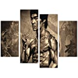 """PICTURES CANVAS WALL ART PRINTS ICONIC BRUCE LEE MARTIAL ARTS STAR PHOTO HOME DÉCOR PRINT ROOM DECORATION PICTURE 4 PIECE 35"""" 90cm WIDE / 28"""" 71CM TALL EXTRA LARGE MODERN ART"""