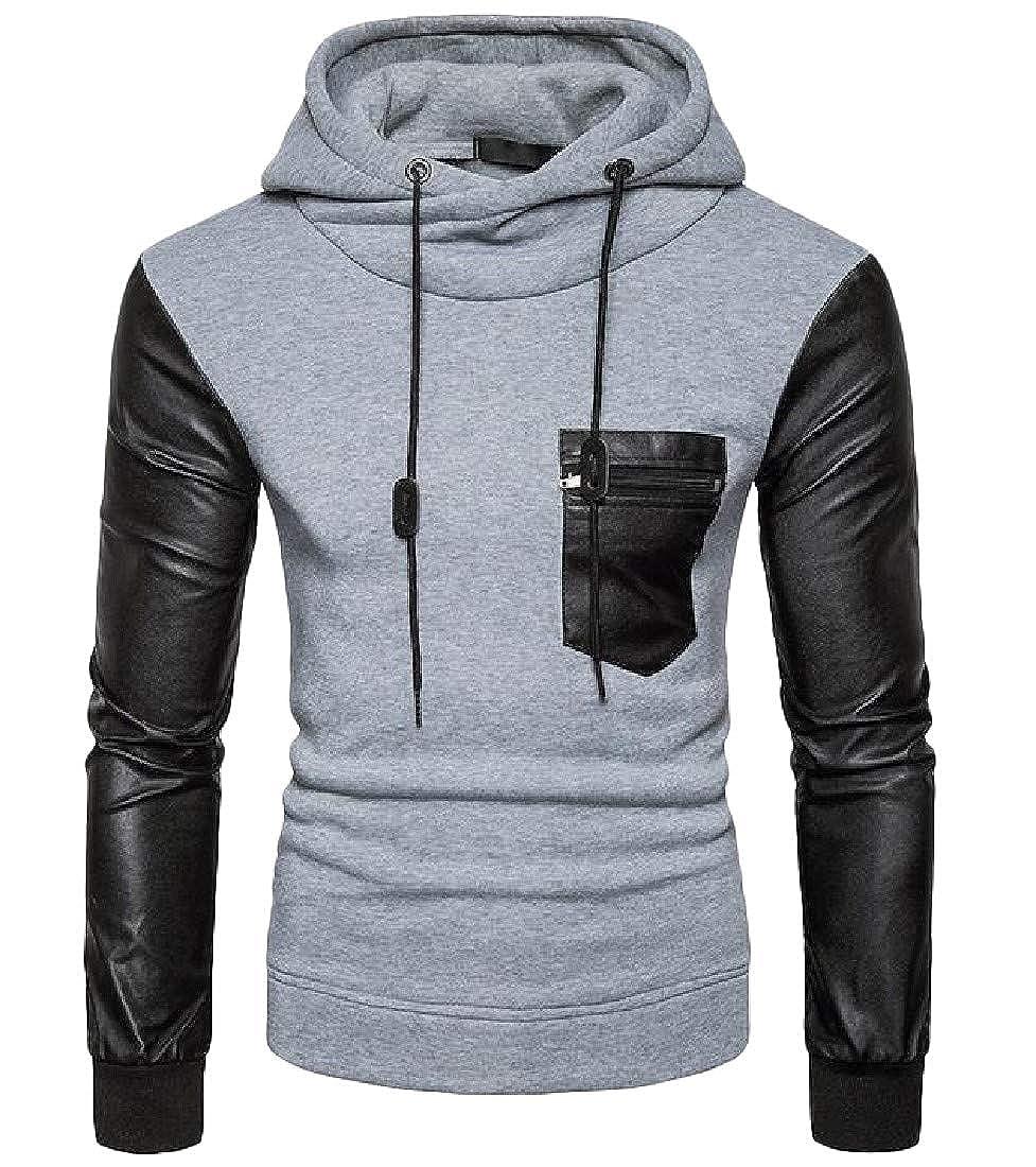 Wofupowga Men Casual Hooded Pullover Spliced Pocket Sweatshirts Jacket
