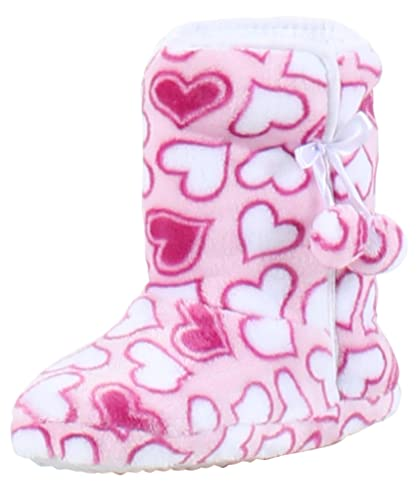 f8fc53a6317a PajamaMania Slipper Boots with Rubber Sole Bright Pink Hearts  (PM5004-2066-L