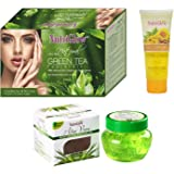 NUTRIGLOW Ultra Rich Natural Green Tea Facial Kit with 55 gm, 1 Turmeric Face Wash 55 ml and Aloe Vera Massage Gel for Men and Women