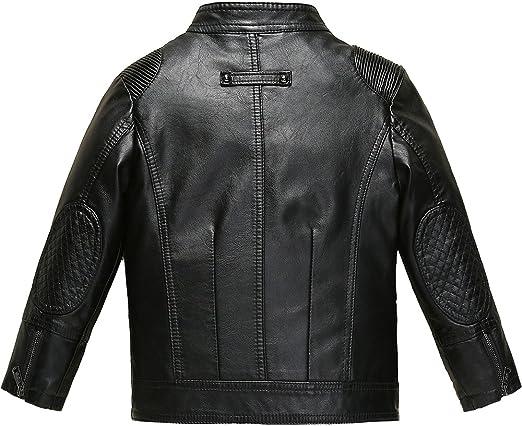 Budermmy Boys Faux Leather Motorcycle Moto Biker Jackets Zipper Coats Black Size 4T
