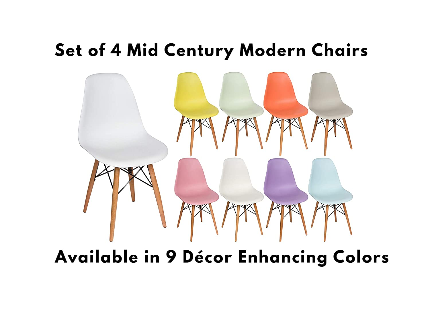 Midcentury Modern Furniture Side Chair White Liani - Designer MONOFRAME Modern Dining Chairs Set of 4 for Living Room Accent Chair Dining Table and Kitchen Chairs Mid Century Modern Chair