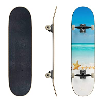 EFTOWEL Skateboards Family Summer Beach Vacation—Seashell Starfish Sand Aqua Caribbean Classic Concave Skateboard Cool Stuff Teen Gifts Longboard Extreme Sports for Beginners and Professionals : Sports & Outdoors