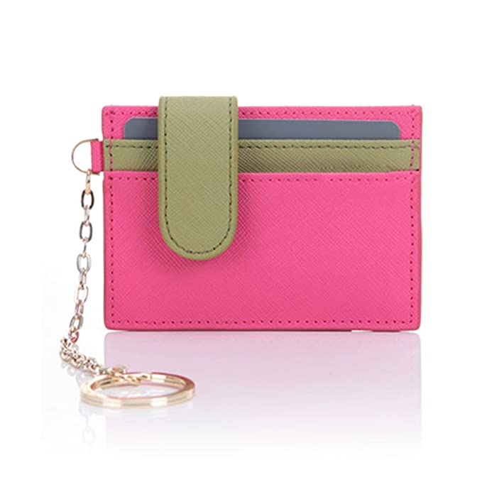 3492c50f864 Womens Genuine Leather Slim Credit Card Holder Wallet with Key Chain