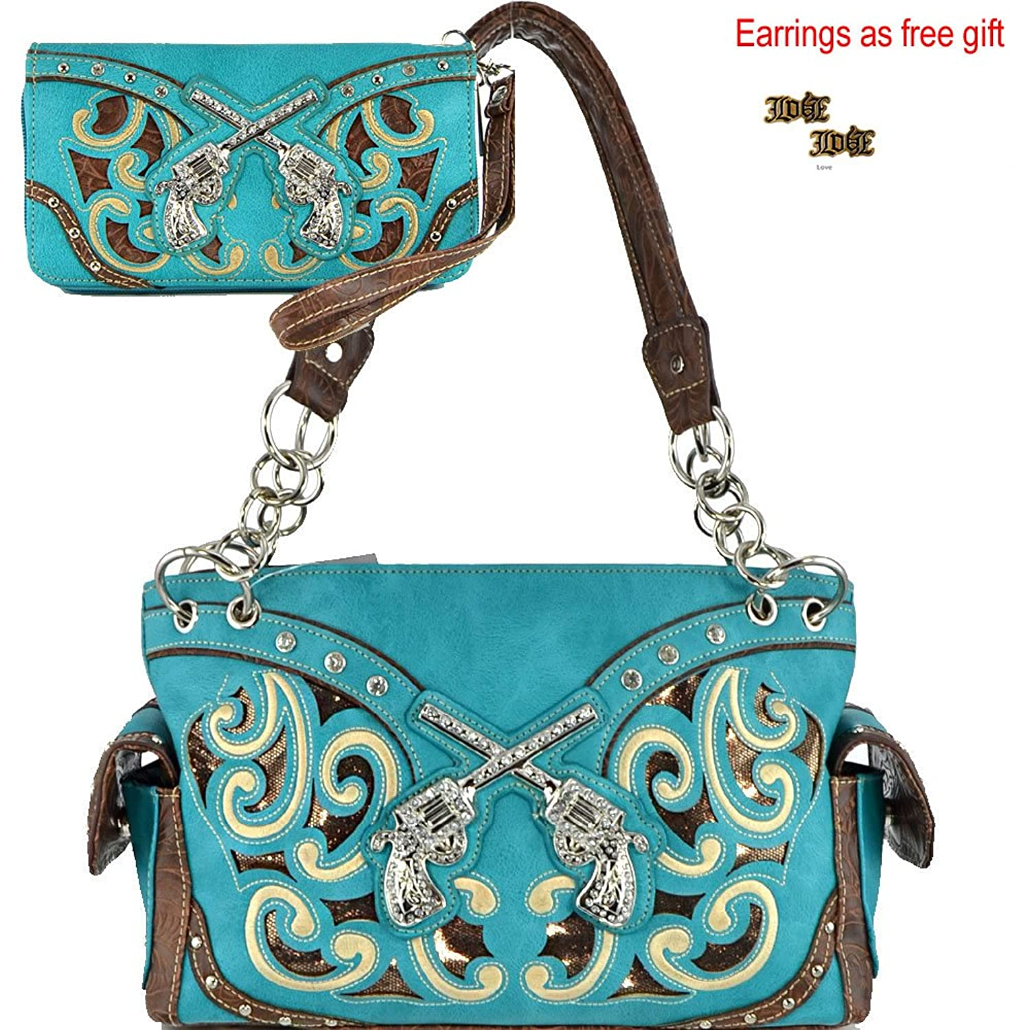 (With Earrings)(AM2-3)Western Crossed Gun Floral Laser Cut Studded Purse Concealed Carry Handbag & Wallet Set-G939W13GS-SET