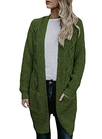 4f93453a13d Dokotoo Womens Open Front Long Sleeve Chunky Cable Knit Long Cardigans  Sweater with Pockets at Amazon Women s Clothing store