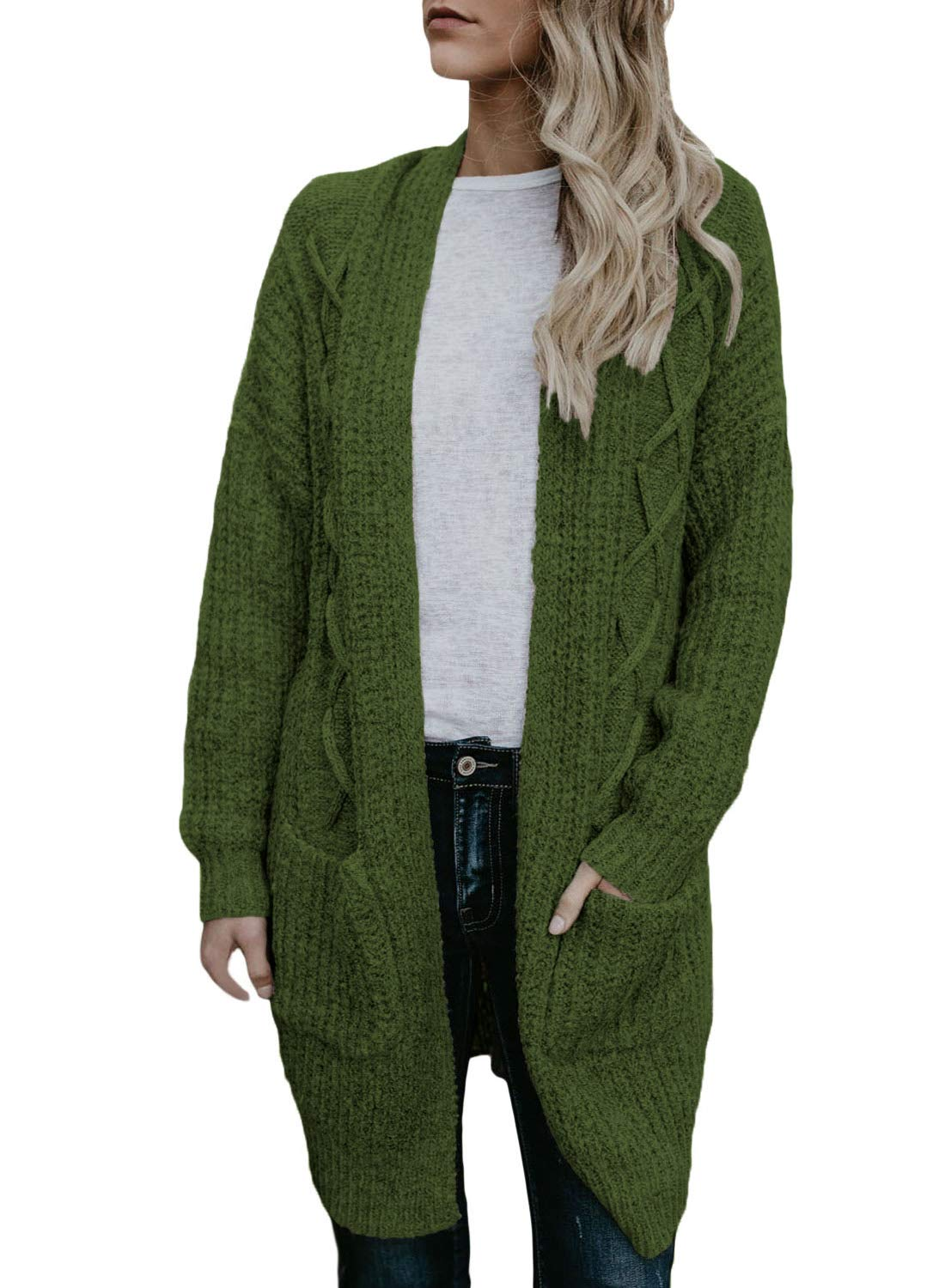 Dokotoo Womens Ladies Oversized Long Sleeve Fall Winter Cozy Warm Chunky Cable Knit Pockets Cardigans Sweater Pullover Green Medium