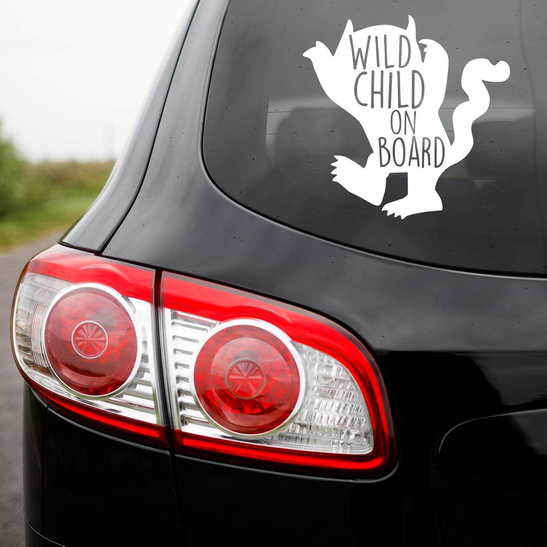 "Vinyl Wall Art Decal - Wild Child On Board - 5"" x 5"" - Sarcastic Cute Funny Adult Joke Little Devil Shape Quote Sticker for Playroom Daycare Family Cars Minivan Rear Window Car Bumper Decor (White)"