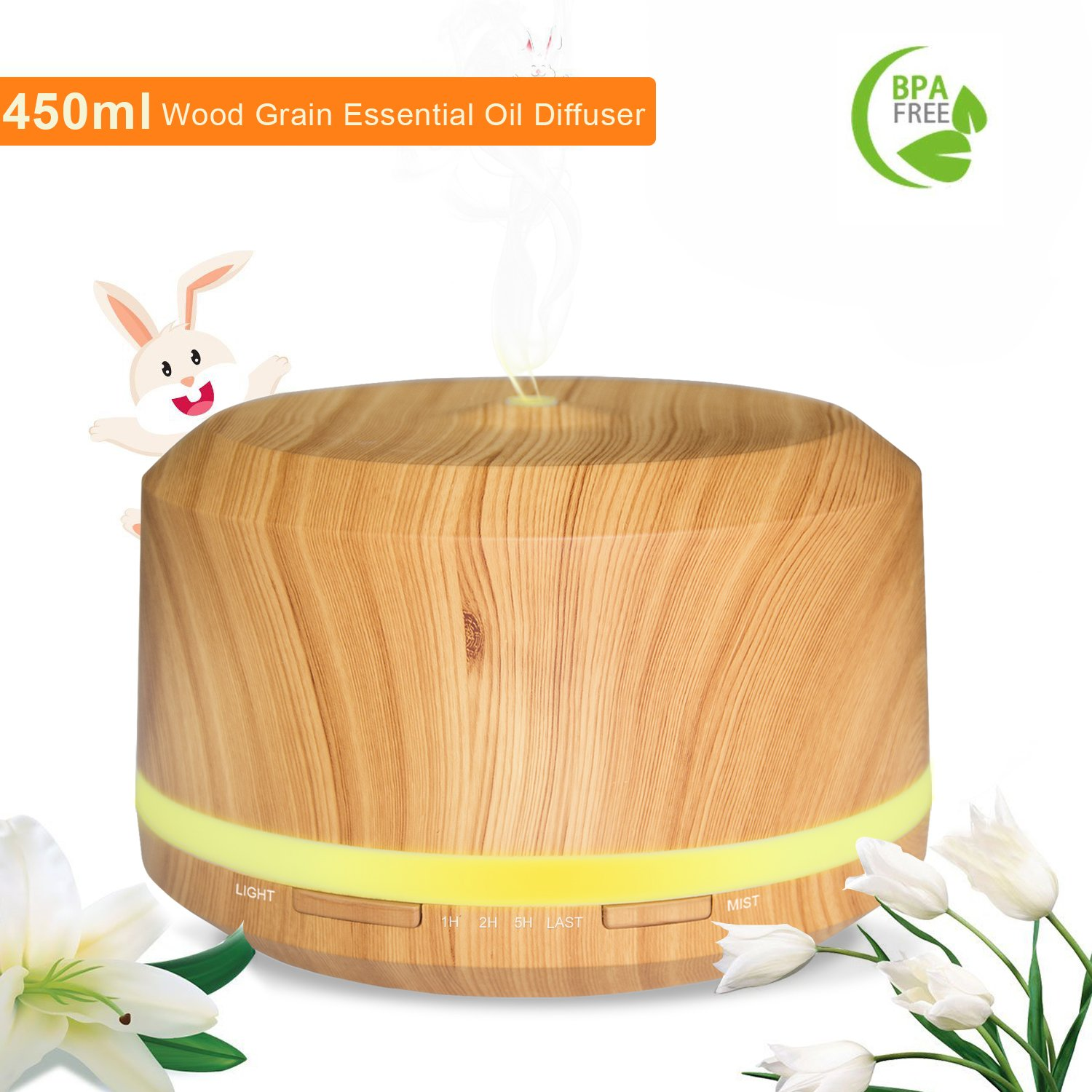 450ML Ultrasonic Oil Diffuser Neloodony Cool Mist Aroma Diffuser Large Capacity Base Wood Grain with 4 Timer Settings and 8 Color LED Lights NEL-AD-450ML-UK-B